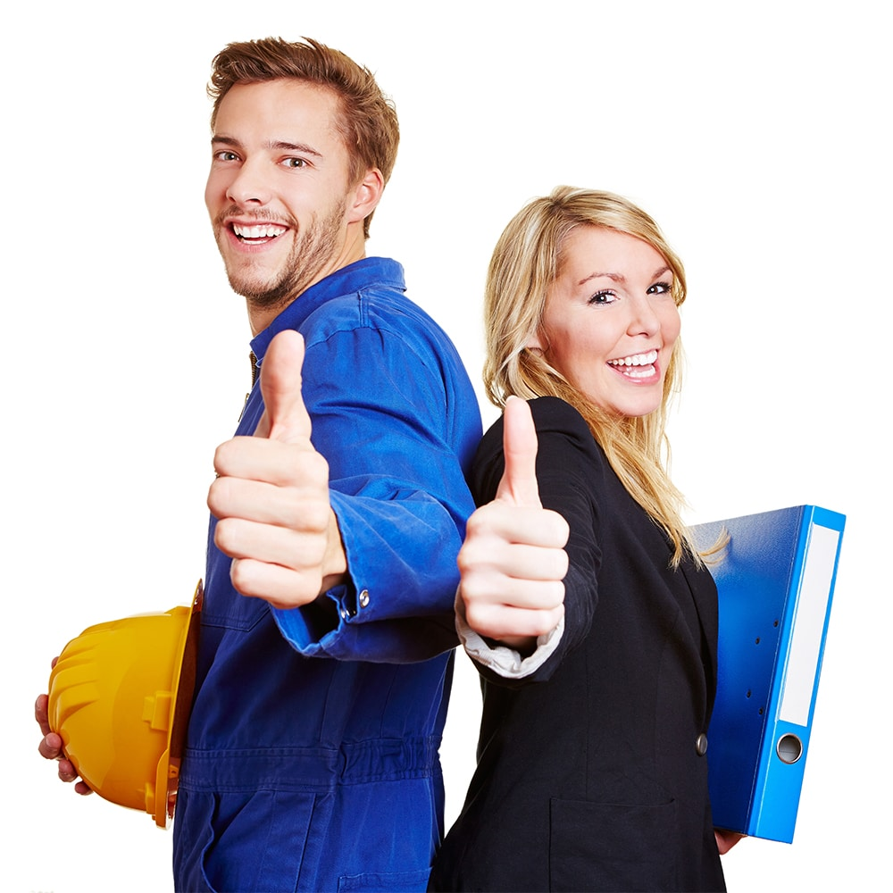 Two workers smiling and giving a thumbs up.